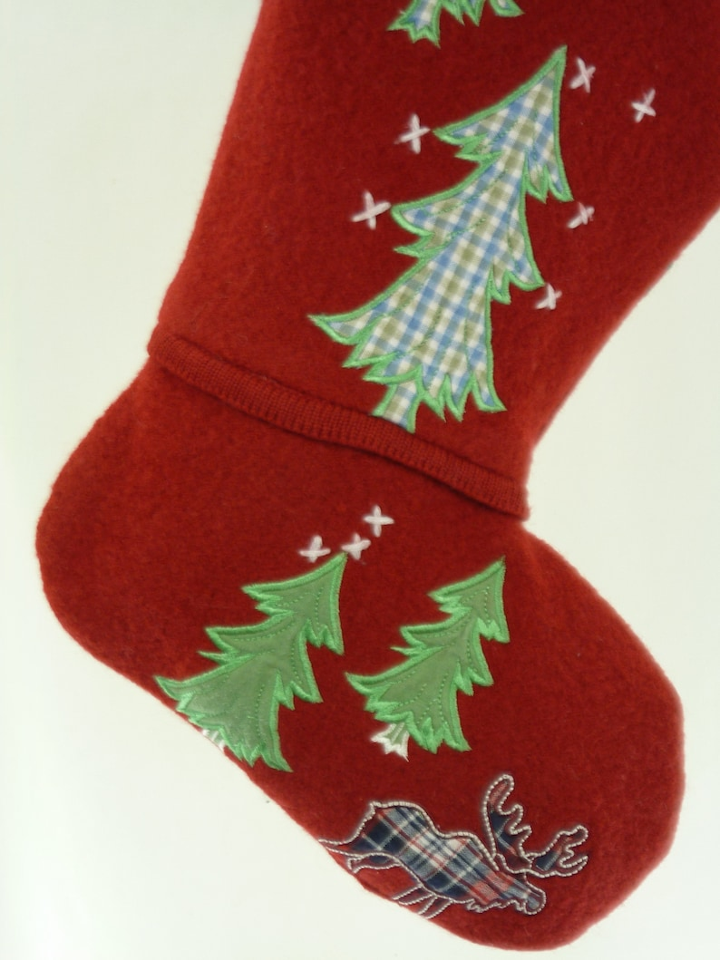 Christmas Stocking Boiled Wool Felt Applique Embroidery Evergreen Trees Moose Red White OOAK Coldwater Creek Sweater Topstitching 920