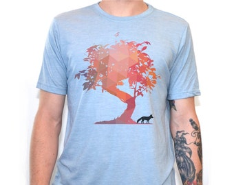 Fox Shirt   Men's T Shirts   Fox t shirt   graphic tees   Tshirts   Gifts for him   Tree   Tree shirt   Animal Shirt   Geometric  