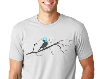 Men's T shirt - Bird on a Tree Listening to Headphones
