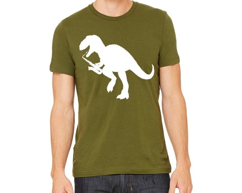 Dinosaur Shirt tshirt T-Rex Playing Saxophone Men s  55db2ebcedeb