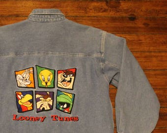 Looney Tunes denim button down oxford shirt vintage 1996 adult XS small