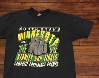 Minnesota North Stars Shirt Grafik-t-Stück 1991 Stanley Cup-Finale NHL  Hockey Tshirt große 884b525ce