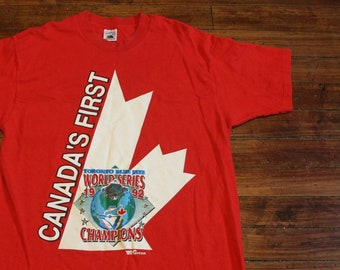 Toronto Blue Jays shirt - 1992 world series champions jays canadas first  red graphic tee XL b8c8eafc5