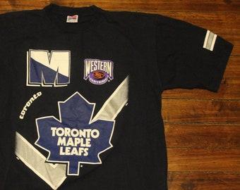 Toronto Maple Leafs shirt vintage 90s NHL hockey graphic tee shirt navy  blue large ff82dd6c6