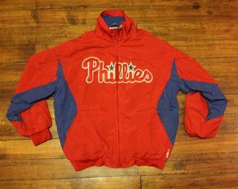 Philadelphia Phillies windbreaker jacket Majestic MLB baseball coat boys  Large f4003e83a