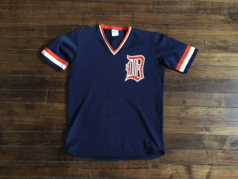 buy online 73f57 4c937 Detroit Tigers jersey mesh 1980s vintage MLB baseball blue medium