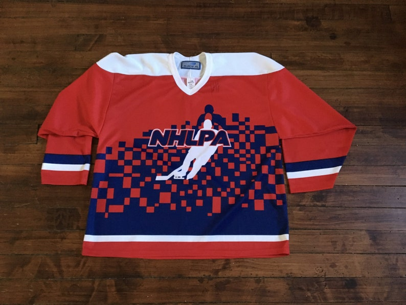 Bauer NHLPA hockey jersey red blue autographed NHL hockey  f256aac2b