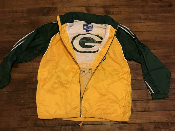 check out dd3f9 7eaf1 Green Bay Packers Starter Jacket vintage 1990s NFL Football windbreaker  raincoat rain jacket XL