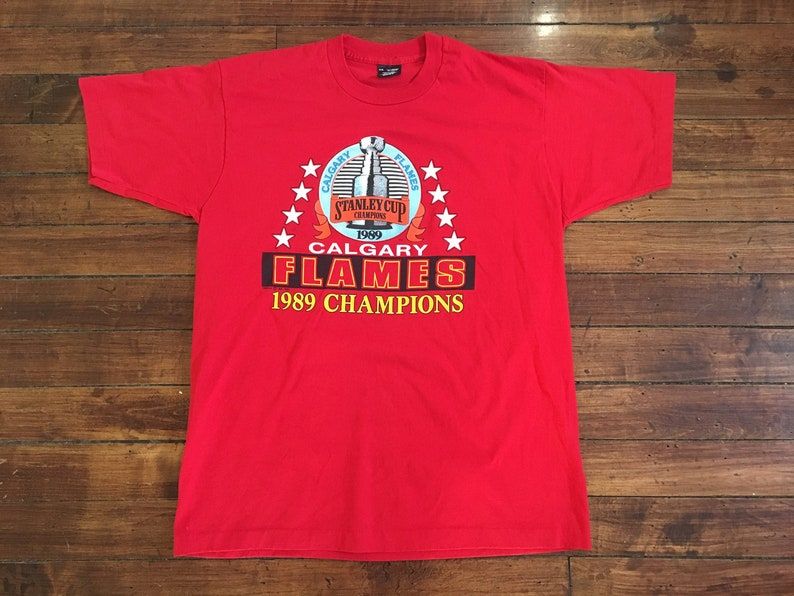 Calgary Flames shirt 1989 Stanley Cup Champions NHL hockey red  a78ad8ea4