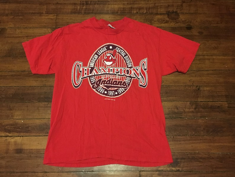 a37176701bdd Cleveland Indians graphic tee red 5 time AL central division | Etsy