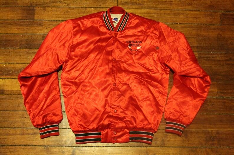 58a1dabd7a723 Chicago Bulls jacket satin swingster jacket vintage NBA | Etsy