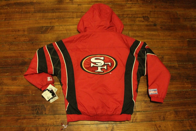 new concept d6897 54e60 deadstock San Francisco 49ers starter jacket vtg NFL football vintage  pullover winter coat Large