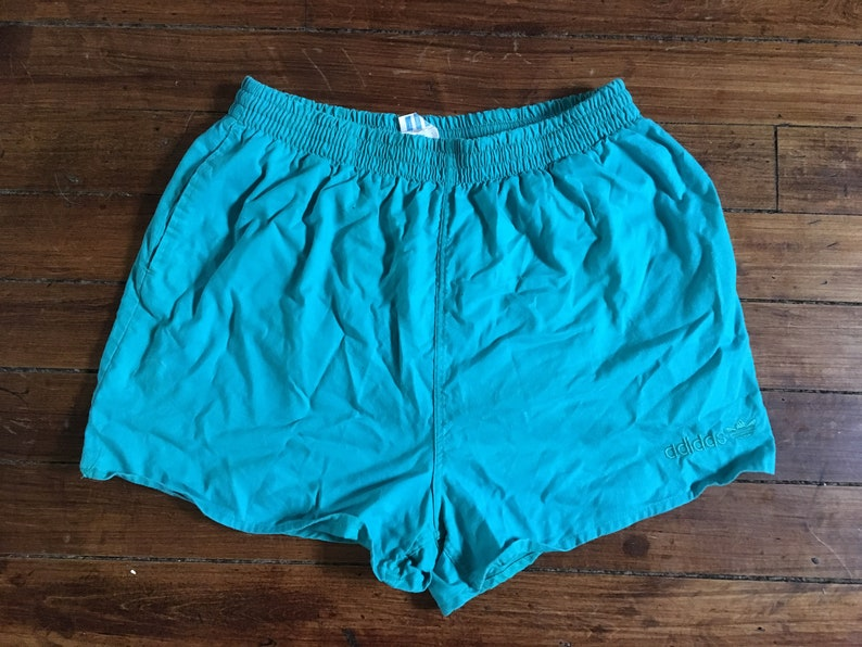 e746da2022 Adidas short swim trunks 1980s short shorts aqua beach | Etsy
