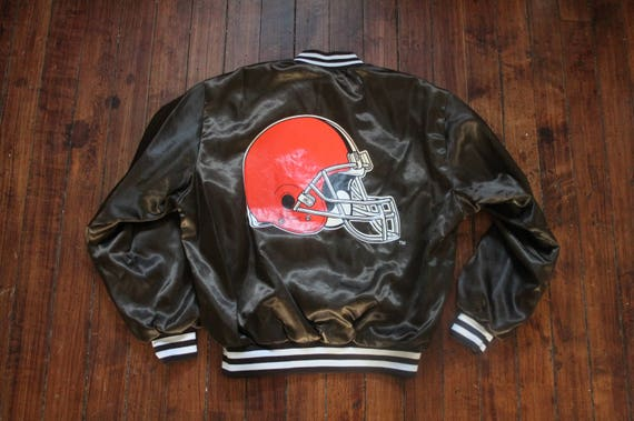 Cleveland Browns Satin jacket swingster NFL football Large  0112a606f