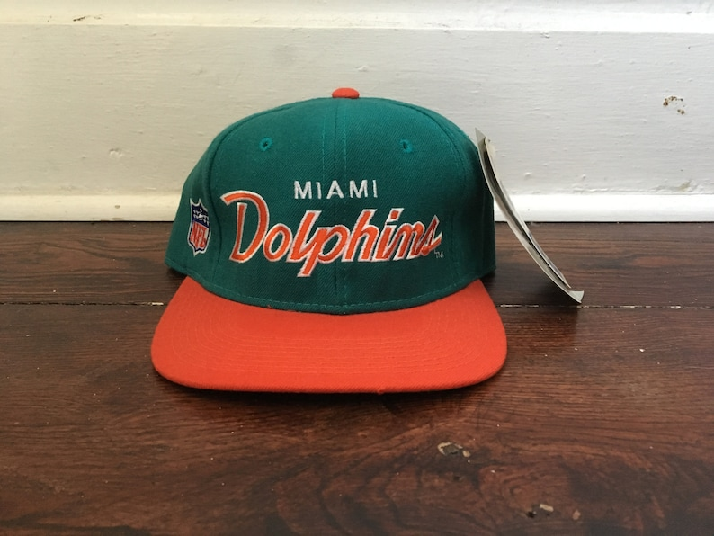 fcd50c4a7 DEADSTOCK sports specialties Miami Dolphins script hat wool