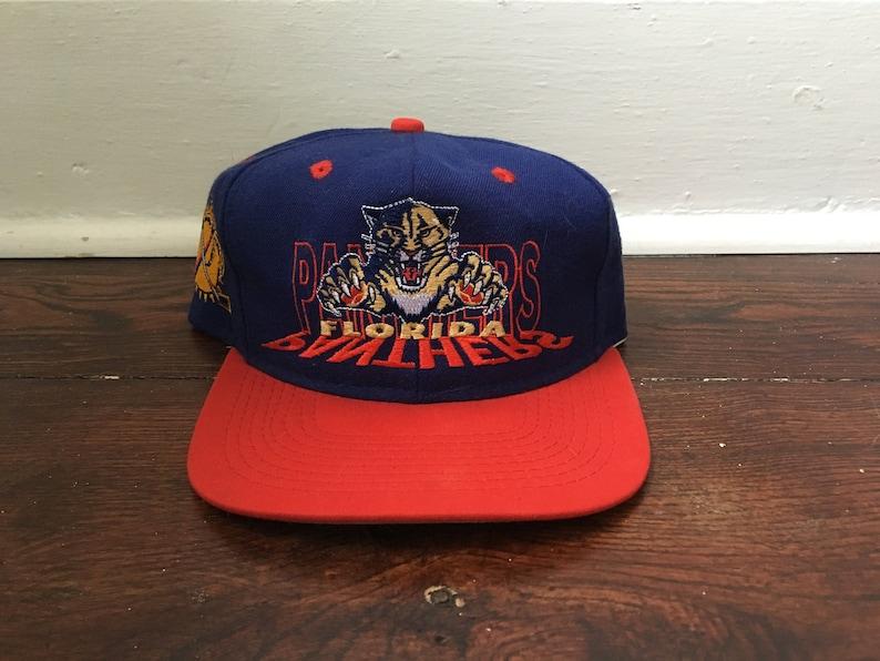 3ba0f308 Florida Panthers snapback hat NHL hockey blue red vintage 90s   Etsy