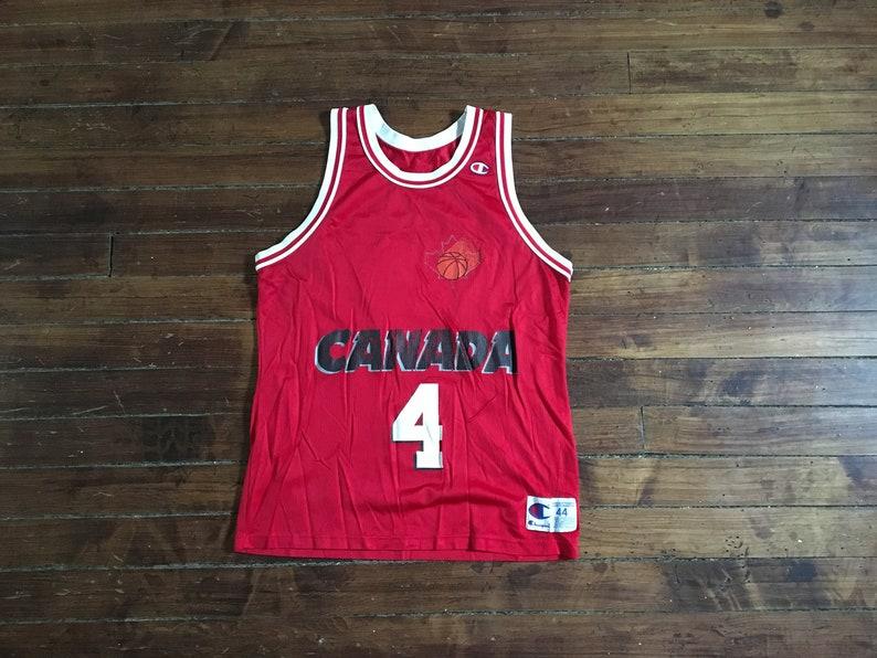b6991061767 Canada Basketball Jersey champion jersey Steve Nash Red 44 | Etsy