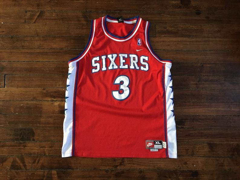 b5ddf5a5647 Philadelphia 76ers Iverson vintage nike basketball Jersey red | Etsy