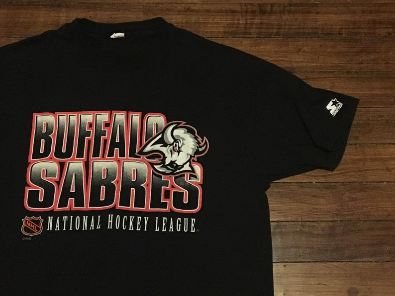 newest 1fdc3 c9c0d Buffalo Sabres shirt Starter tshirt black vintage NHL hockey graphic tee  Large