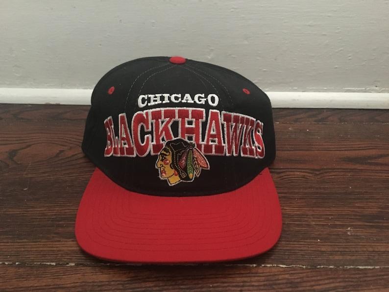 e49faf1a73f8ca Chicago Blackhawks snapback hat NHL hockey black red logo | Etsy
