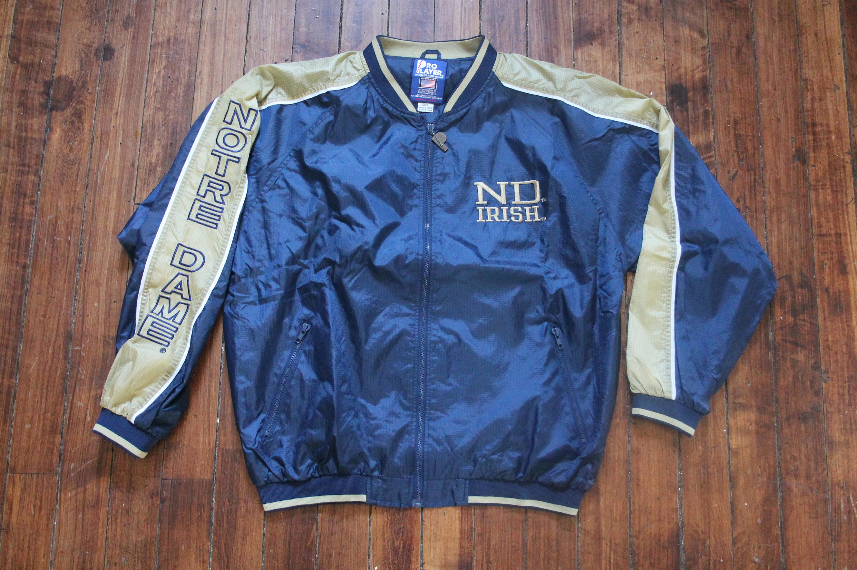 Notre Dame windbreaker jacket pro player NCAA vintage large