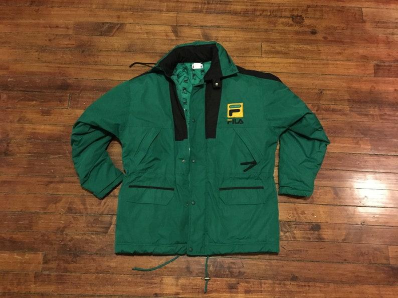 bcc33809ca45 Fila Sport 90s winter jacket green black hip hop streetwear   Etsy
