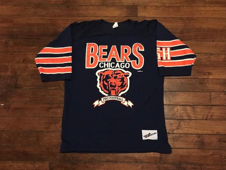 sale retailer 3eb54 36368 Chicago Bears jersey shirt vintage 1980s NFL football tshirt navy blue  orange Large XL