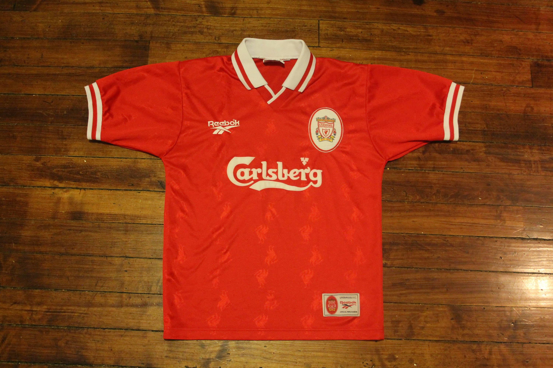 separation shoes 81818 cb4af Liverpool jersey football soccer Reebok Carlsberg EPL english premier  league shirt small