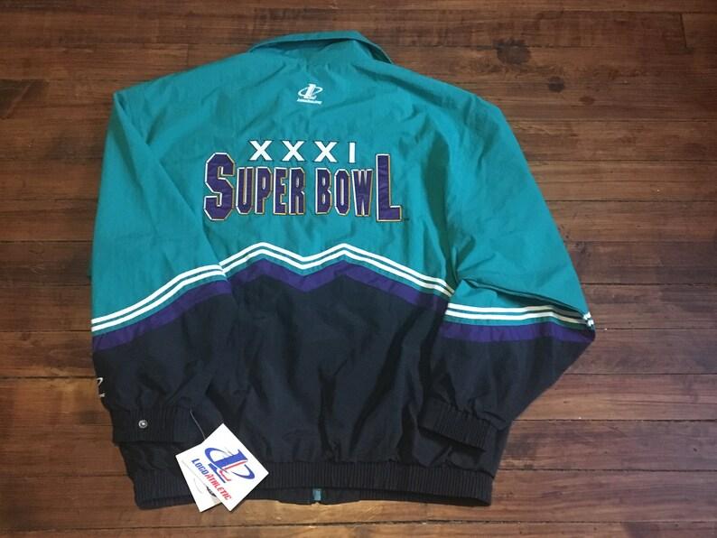 buy popular 2f6ba d4009 Deadstock Super Bowl XXXI 31 windbreaker jacket logo athletic NFL football  new orleans saints green bay packers XL