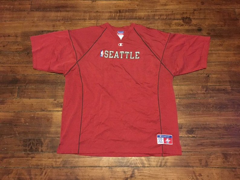 68880e15d03 Seattle Supersonics champion pullover warmup shirt vtg NBA