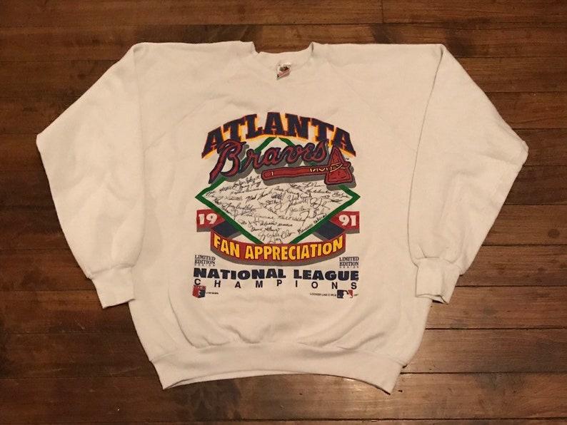 watch 06060 6c9d2 Atlanta Braves shirt vintage crewneck sweatshirt 1991 fan appreciation  shirt limited edition design MLB baseball sweater Large / XL