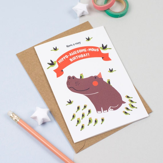Hippo -awesome-mouse Birthday Card