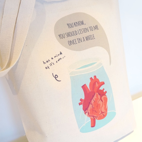Anatomical Heart Cotton Canvas Bag