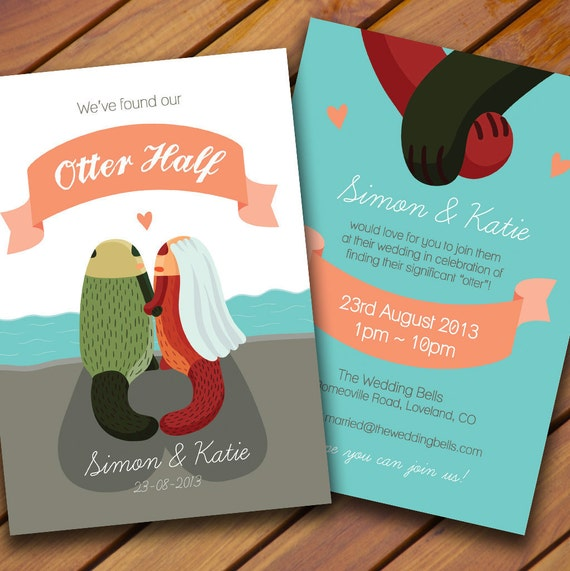 CUSTOM Otter Wedding Invitation
