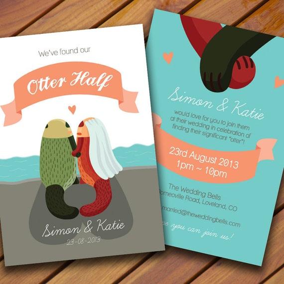 CUSTOM Otter Wedding Invitation