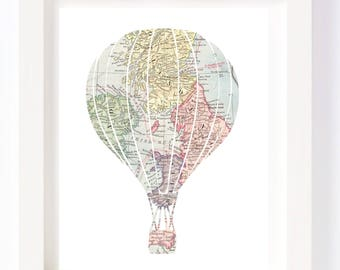 Printable - Hot Air Balloon Vintage World Map Kid Playroom Travel Nursery Wall Art Print digital design diy instant download