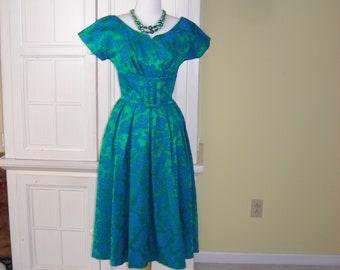 Green Brocade Dress | Etsy