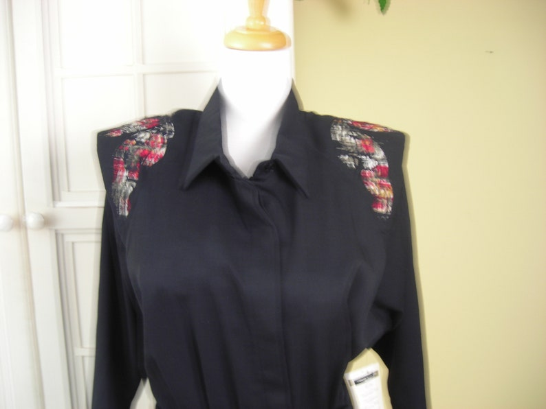 Fashions black dress and black 2 belt with gold buckle made in the USA 70s Montgomery Ward S.L floral design over shoulder dead stock