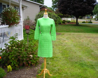 vintage 60's 70's green sweater dress, wiggle dress, fitted sheath, Swissknits by Stylecrafters, size S-M