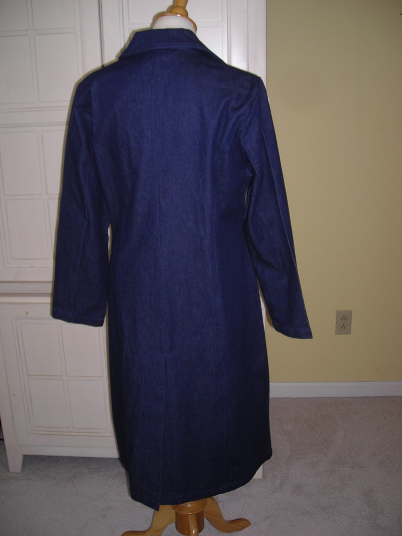 attractively embroidered dark denim full length coat 80/'s What/'s Hot in Hollywood Dead Stock