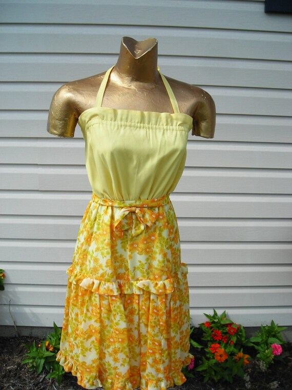 50's,60's yellow, gold and orange sundress with ma