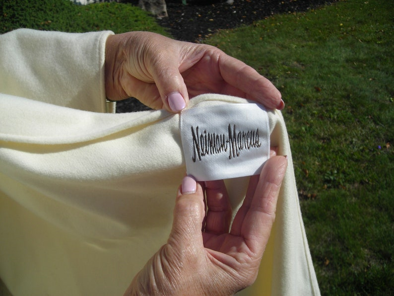 60s Winter white cape-like coat So Special!! hood scarf it is not a cape because it has sewn in sleeves uneven hemline