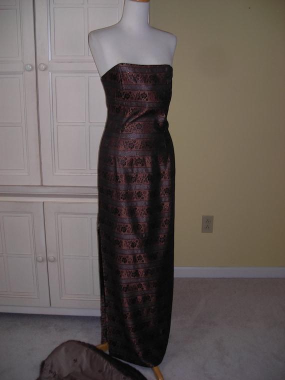 70's strapless gown, Jessica McClintock, metalic p