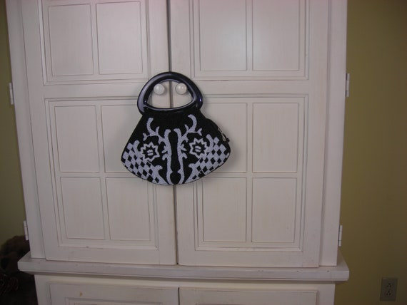 90's Cache beaded purse, black and white, handbag,