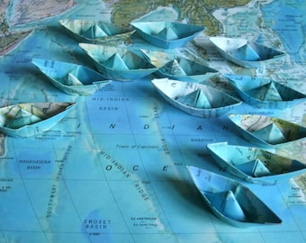 paper boat origami decoration nautical theme ocean party maps atlas 12 paper sail boats
