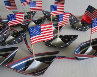 12 paper boats origami decoration 4th of July patriotic party barbecue celebration