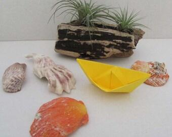 paper boat origami sail boat yellow sunny beach rainbow summer