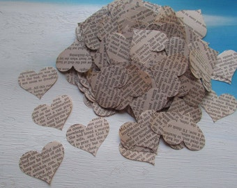 paper hearts wedding table confetti 500 heart punches die cut Gone with the Wind vintage 1967 book