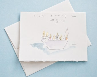 Happy Birthday From All of Us - Watercolor Greeting Card