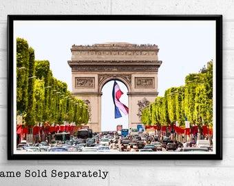Arc wall art etsy arc de triomphe 2 paris landmark pop art print poster france monument landmark europe home decor travel canvas malvernweather Choice Image